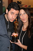 Comedians Ben Gleib and Angie Greenup at the 1st Annual Oscar Statuette Nationwide Tour Los Angeles event for the firstever Oscar Roadtrip on...