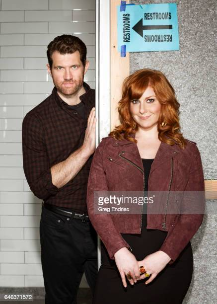 Comedians Billy Eichner and Julie Klausner are photographed for Emmy Magazine on February 5 2016 in New York City
