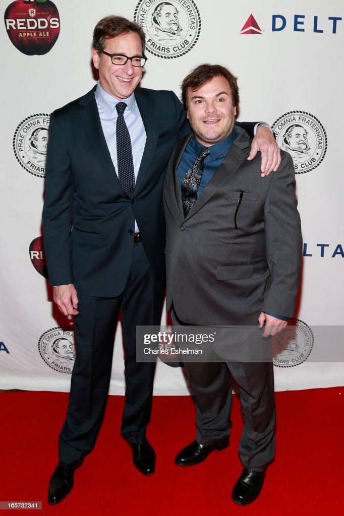 Comedians Bob Saget and Jack Black attend The Friars Club Roast Honors Jack Black at New York Hilton and Towers on April 5, 2013 in New York City.