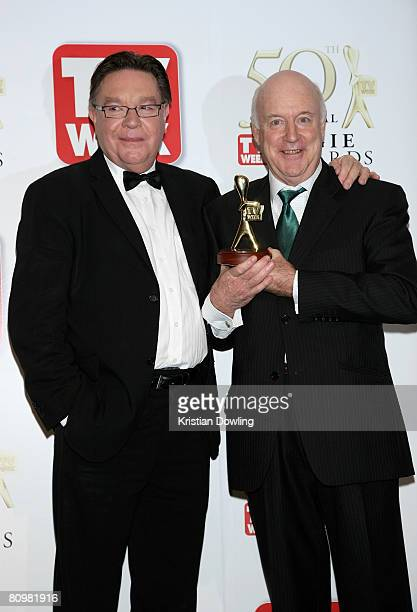TV comedians Brian Dawe and John Clarke pose with John's Lifetime Achievement Award award backstage in the Media Room at the 50th Annual TV Week...