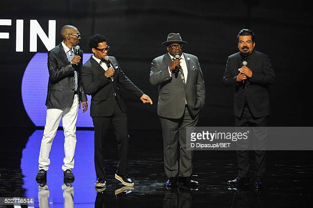Comedians Charlie Murphy DL Hughley Cedric the Entertainer and George Lopez speak onstage during BET Networks 2016 Upfront at Rose Hall at Jazz at...