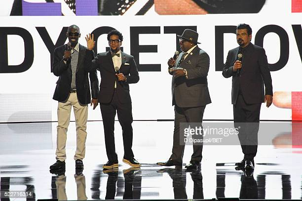 Comedians Charlie Murphy DL Hughley Cedric the Entertainer and Goerge Lopez speak onstage during BET Networks 2016 Upfront at Rose Hall at Jazz at...