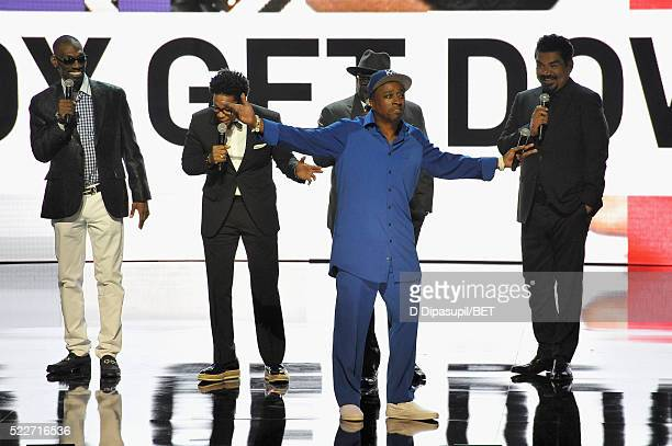 Comedians Charlie Murphy DL Hughley Cedric the Entertainer Eddie Griffin and George Lopez speak onstage during BET Networks 2016 Upfront at Rose Hall...