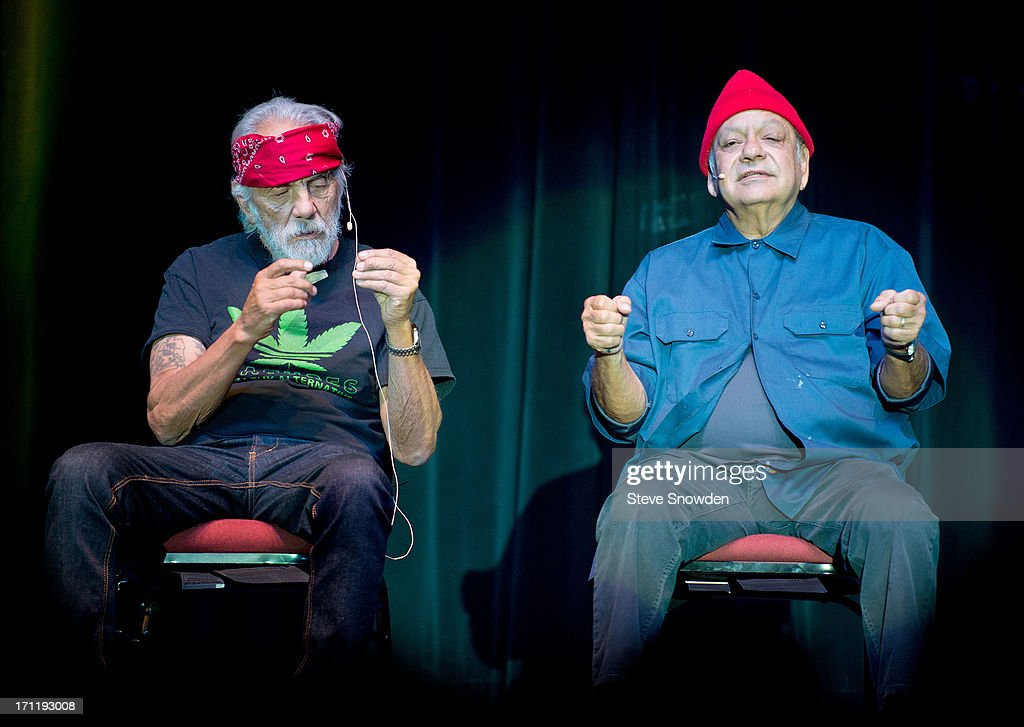 Comedians Cheech & Chong perform their classic routines in character and costumes during their sold-out performance at Route 66 Casino's Legends Theater on June 22, 2013 in Albuquerque, New Mexico.