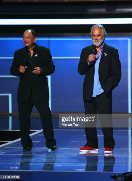 Comedians Cheech Marin and Tommy Chong onstage at the 2008 ALMA Awards at the Pasadena Civic Auditorium on August 17 2008 in Pasadena California