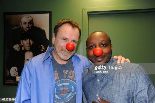 Comedians Colin Quinn and Gordon Baker Bone promoting 'Red Nose Day' backstage at The Stress Factory Comedy Club on May 12 2017 in New Brunswick New...