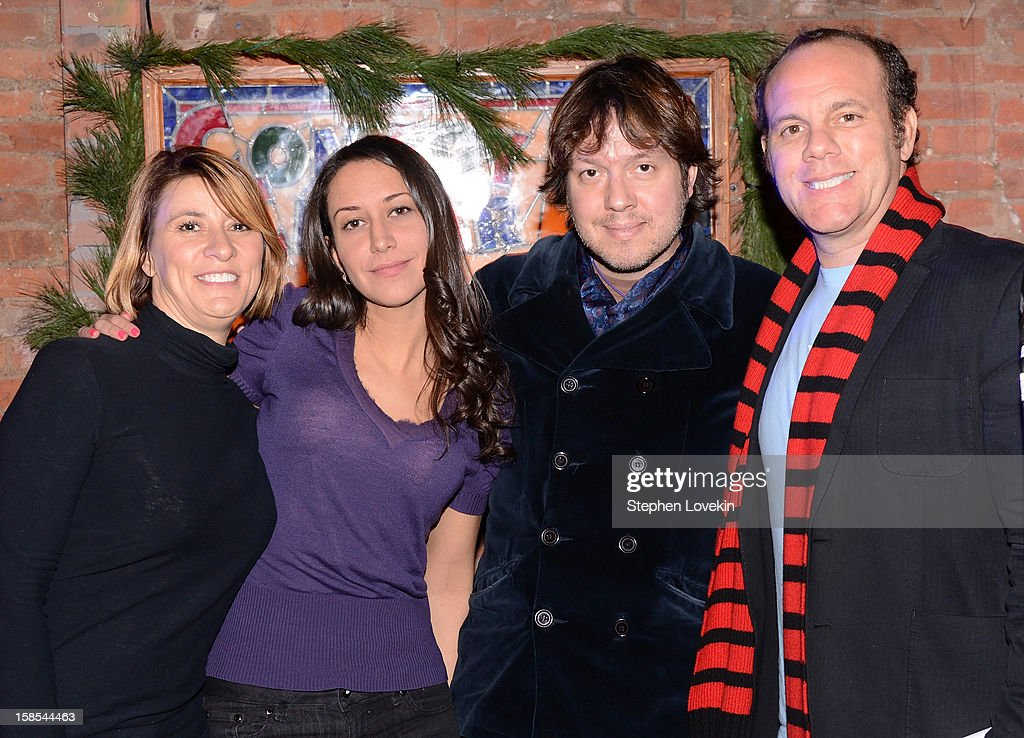 Comedians Cynthia Koury, Rachel Feinstein, Dave Hill, and Tom Papa attend comedian Tom Papa's special Christmas edition of SirusXM's 'Come To Papa' his 'Raw Dog' comedy show on SiriusXM at Village Underground on December 18, 2012 in New York City.