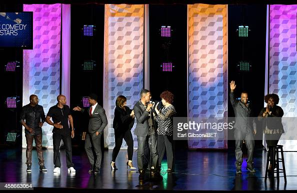 Comedians Donnell Rawlings Malik S King Bach actress Tisha CampbellMartin comedians Bill Bellamy Kim Coles J Reid and Cocoa Brown speak onstage...