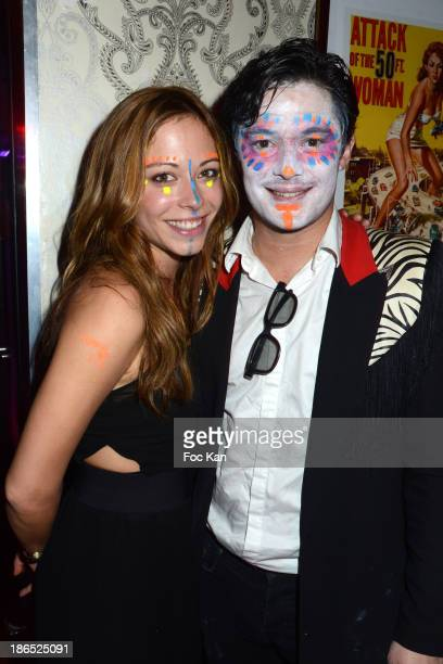 Comedians Dounia Coesens and Aurelien Wiik attend the 'Glamoween' Party Hosted By The Missionnaires At La Foule Club on October 31 2013 in Paris...