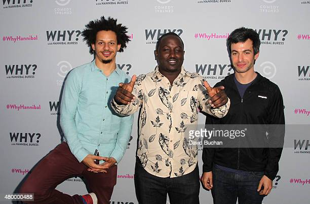 Comedians Eric Andre Hannibal Buress and Nathan Fielder attend the Premiere of Comedy Central's 'Why With Hannibal Buress' at Smogshoppe on July 8...