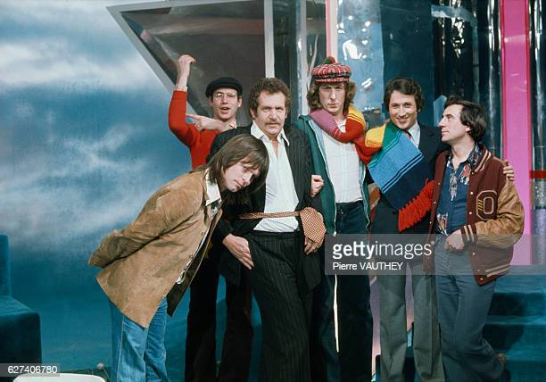 Comedians from the British comedy troupe Monty Python join musician and composer Mort Shuman and French TV host Michel Drucker on the set of...