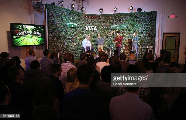 Comedians Gil Ozeri Ben Schwartz and Lauren Lapkus are joined on stage during their performance at The Visa Everywhere Lounge in Austin by Sam...