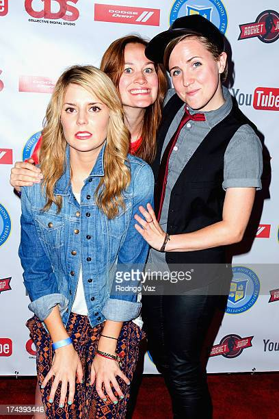 Comedians Grace Helbig Mamrie Hart and Hannah Hart attend the YouTube Space World Premiere Event 'Video Game High School 2' at YouTube Space LA on...