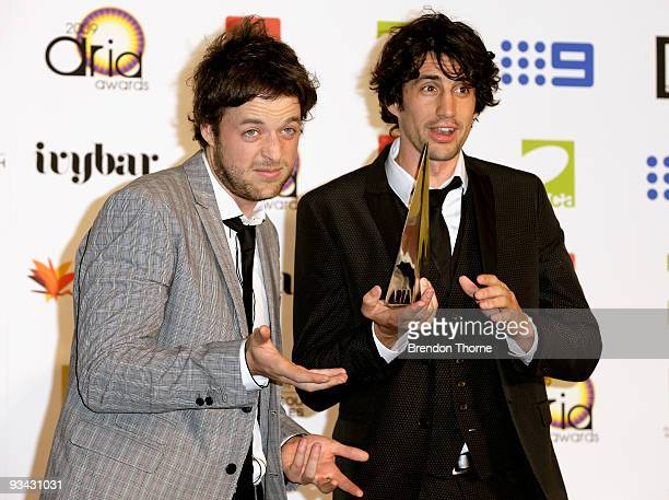 Comedians Hamish Blake and Andy Lee pose with the award for Best Comedy Album for 'Unessential Listening' in the Awards Room backstage at the 2009...
