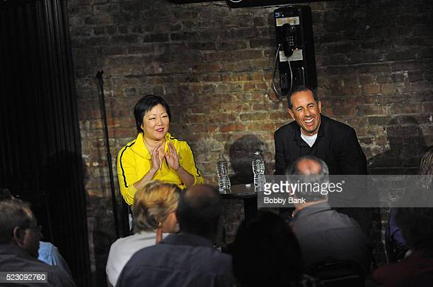 Comedians Jerry Seinfeld and Margaret Cho on stage at The Stress Factory Comedy Club on April 21 2016 in New Brunswick New Jersey This 'second chance...
