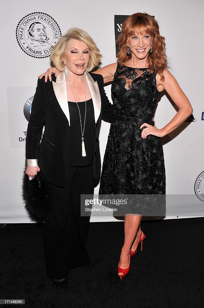 Comedians <a gi-track='captionPersonalityLinkClicked' href=/galleries/search?phrase=Joan+Rivers&family=editorial&specificpeople=159403 ng-click='$event.stopPropagation()'>Joan Rivers</a> and <a gi-track='captionPersonalityLinkClicked' href=/galleries/search?phrase=Kathy+Griffin&family=editorial&specificpeople=203161 ng-click='$event.stopPropagation()'>Kathy Griffin</a> attend The Friars Foundation Annual Applause Award Gala honoring Don Rickles at The Waldorf=Astoria on June 24, 2013 in New York City.