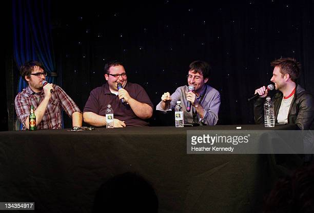 Comedians Jonah Ray Matt Mira John Oliver and Chris Hardwick speak at the 2011 SXSW Music Film Interactive Festival The Nerdist With Chris Hardwick...