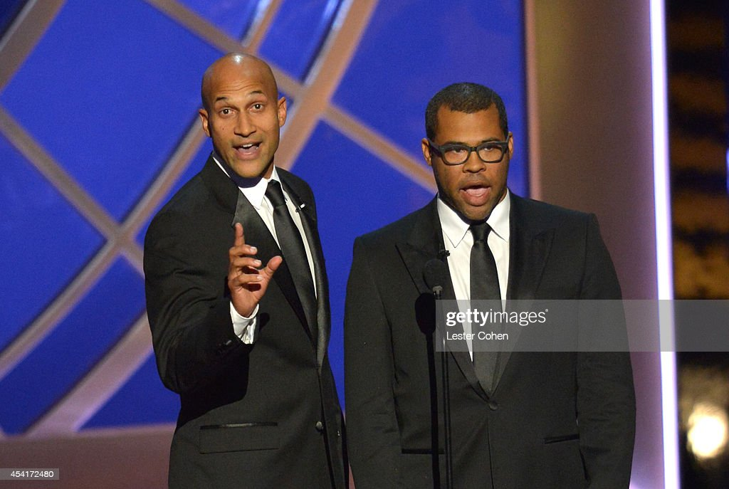Comedians <a gi-track='captionPersonalityLinkClicked' href=/galleries/search?phrase=Keegan-Michael+Key&family=editorial&specificpeople=630311 ng-click='$event.stopPropagation()'>Keegan-Michael Key</a> (L) and <a gi-track='captionPersonalityLinkClicked' href=/galleries/search?phrase=Jordan+Peele&family=editorial&specificpeople=7317208 ng-click='$event.stopPropagation()'>Jordan Peele</a> speak onstage at the 66th Annual Primetime Emmy Awards held at Nokia Theatre L.A. Live on August 25, 2014 in Los Angeles, California.