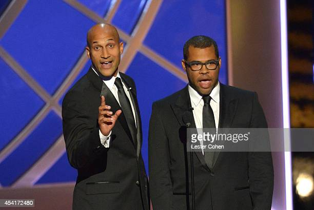 Comedians KeeganMichael Key and Jordan Peele speak onstage at the 66th Annual Primetime Emmy Awards held at Nokia Theatre LA Live on August 25 2014...