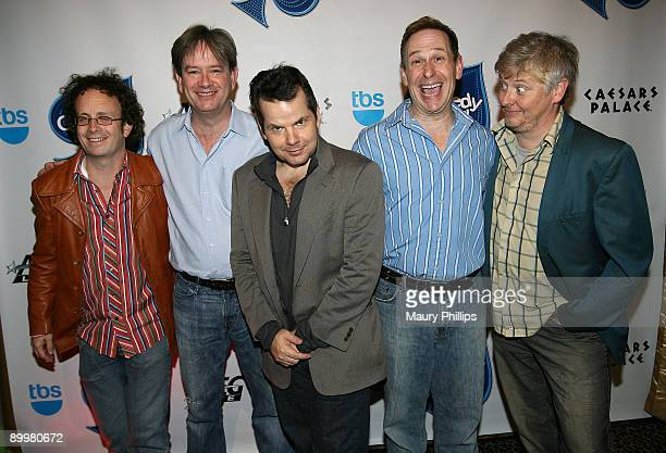 Comedians Kevin MacDonald Mark McKinney Bruce McCulloch Scott Thompson and Dave Foley of The Kids in the Hall pose backstage during The Comedy...