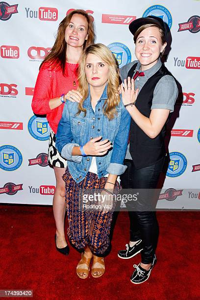 Comedians Mamrie Hart Grace Helbig and Hannah Hart attend the YouTube Space World Premiere Event 'Video Game High School 2' at YouTube Space LA on...