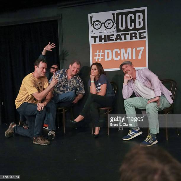 Comedians Matt Besser Horatio Sanz Ian Roberts Amy Poehler and Matt Walsh perform on stage during the 17th Annual Del Close Improv Comedy Marathon...