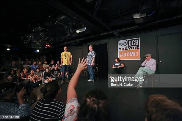 Comedians Matt Besser Ian Roberts Amy Poehler and Matt Walsh perform on stage during the 17th Annual Del Close Improv Comedy Marathon Press...