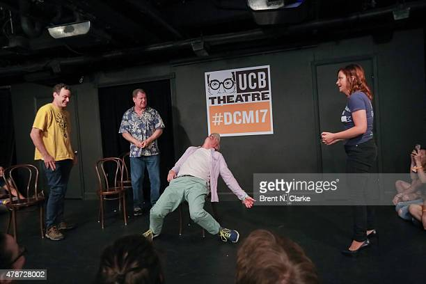 Comedians Matt Besser Ian Roberts Matt Walsh and Amy Poehler perform on stage during the 17th Annual Del Close Improv Comedy Marathon Press...
