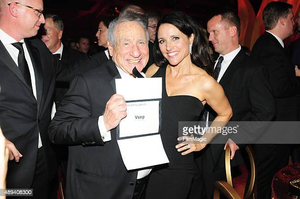 Comedians Mel Brooks and Julia LouisDreyfus attend HBO's Official 2015 Emmy After Party at The Plaza at the Pacific Design Center on September 20...