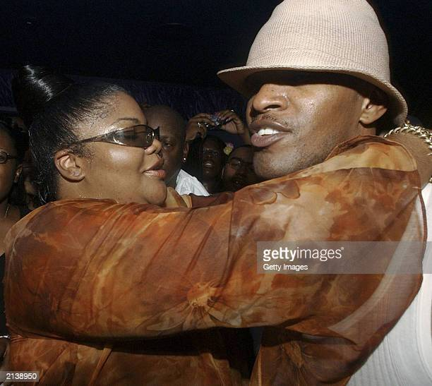 Comedians Mo'Nique and Jamie Foxx mingle at Club 360 after Essence Festival 2003 on July 6 2003 in New Orleans LA