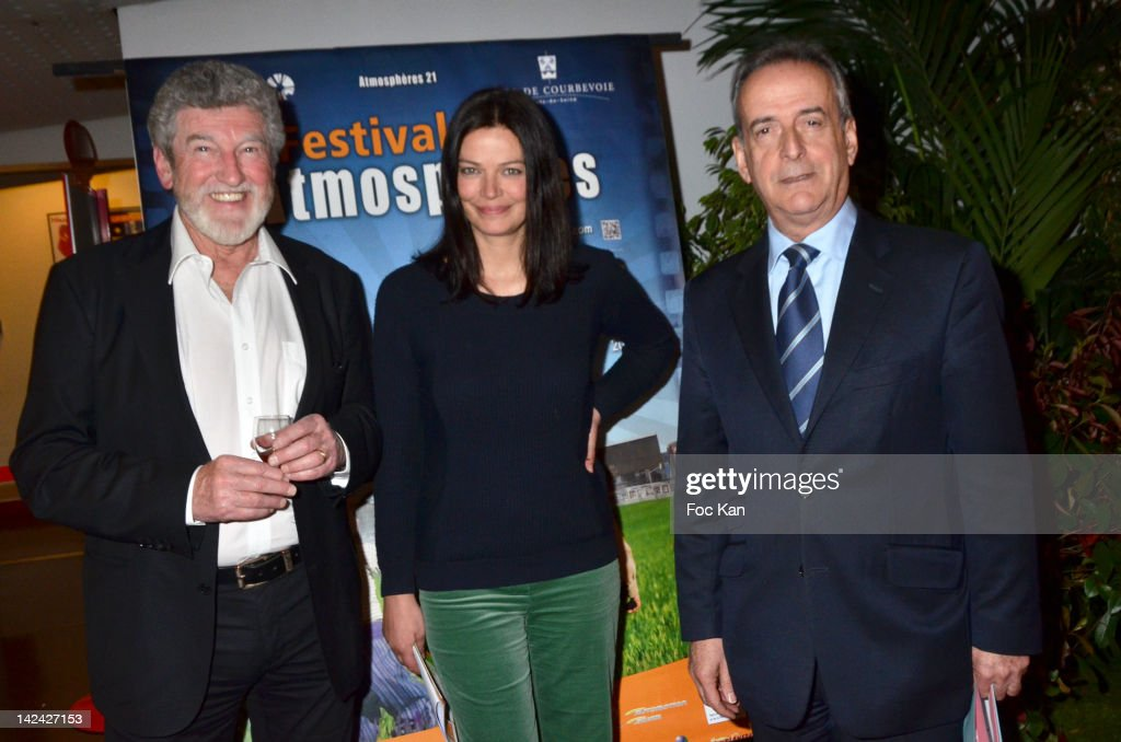 Comedians Patrick Prejean, Marianne Denicourt and Courbevoie Mayor Jacques Kossowski attend the 'Festival Atmospheres' 2012 Closing Ceremony at the Espace Carpeaux on April 4, 2012 in Courbevoie, France.