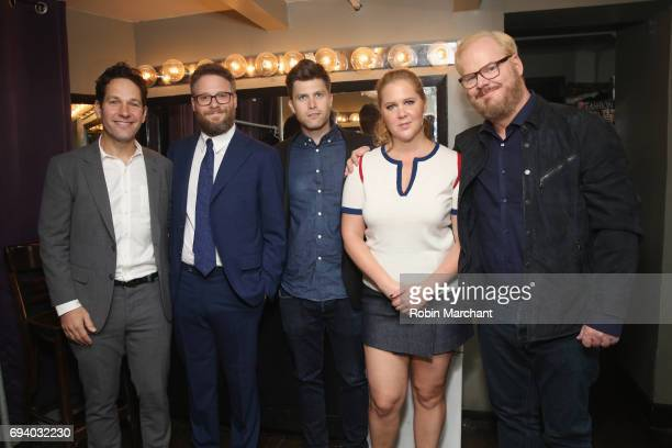 Comedians Paul Rudd Seth Rogen Colin Jost Amy Schumer and Jim Gaffigan back stage at Hilarity for Charity's Third Annual New York City Variety Show...