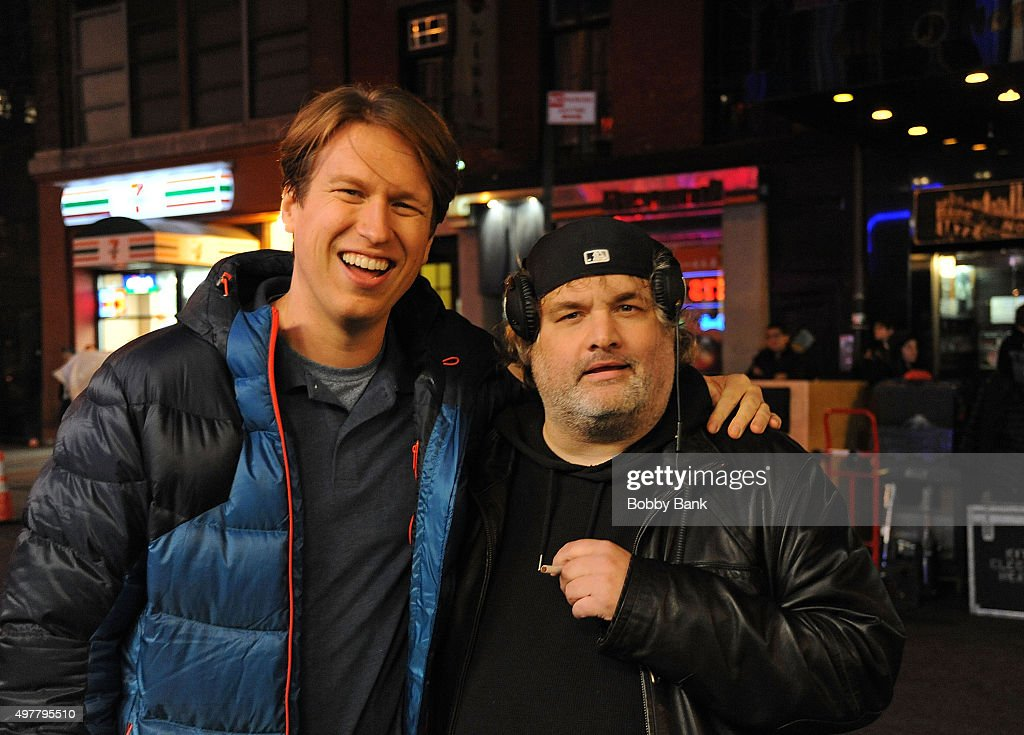 Comedians Pete Holmes and Artie Lange on the set of HBO's pilot 'Crashing' on November 18 2015 in New York City