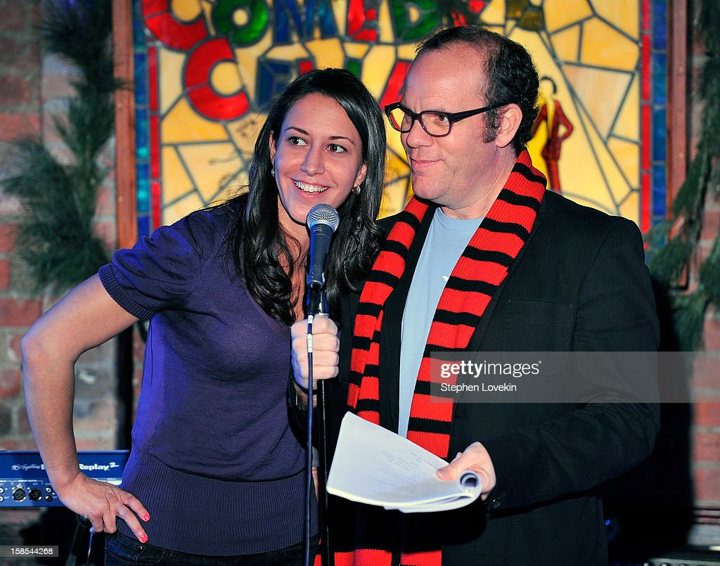 Comedians Rachel Feinstein and Tom Papa attend Papa's special Christmas edition of SirusXM's 'Come To Papa' his 'Raw Dog' comedy show on SiriusXM at Village Underground on December 18, 2012 in New York City.