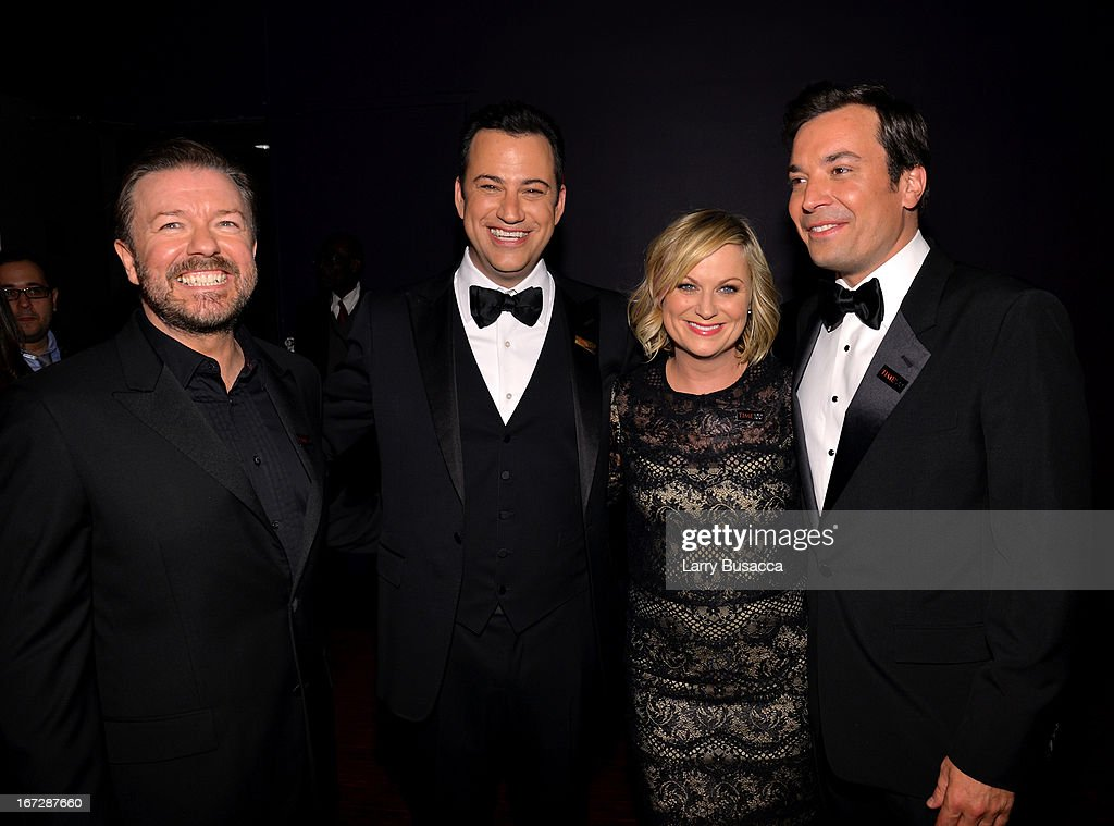 Comedians Ricky Gervais, Jimmy Kimmel, Amy Poehler, and Jimmy Fallon attend the TIME 100 Gala, TIME'S 100 Most Influential People In The World reception at Jazz at Lincoln Center on April 23, 2013 in New York City.