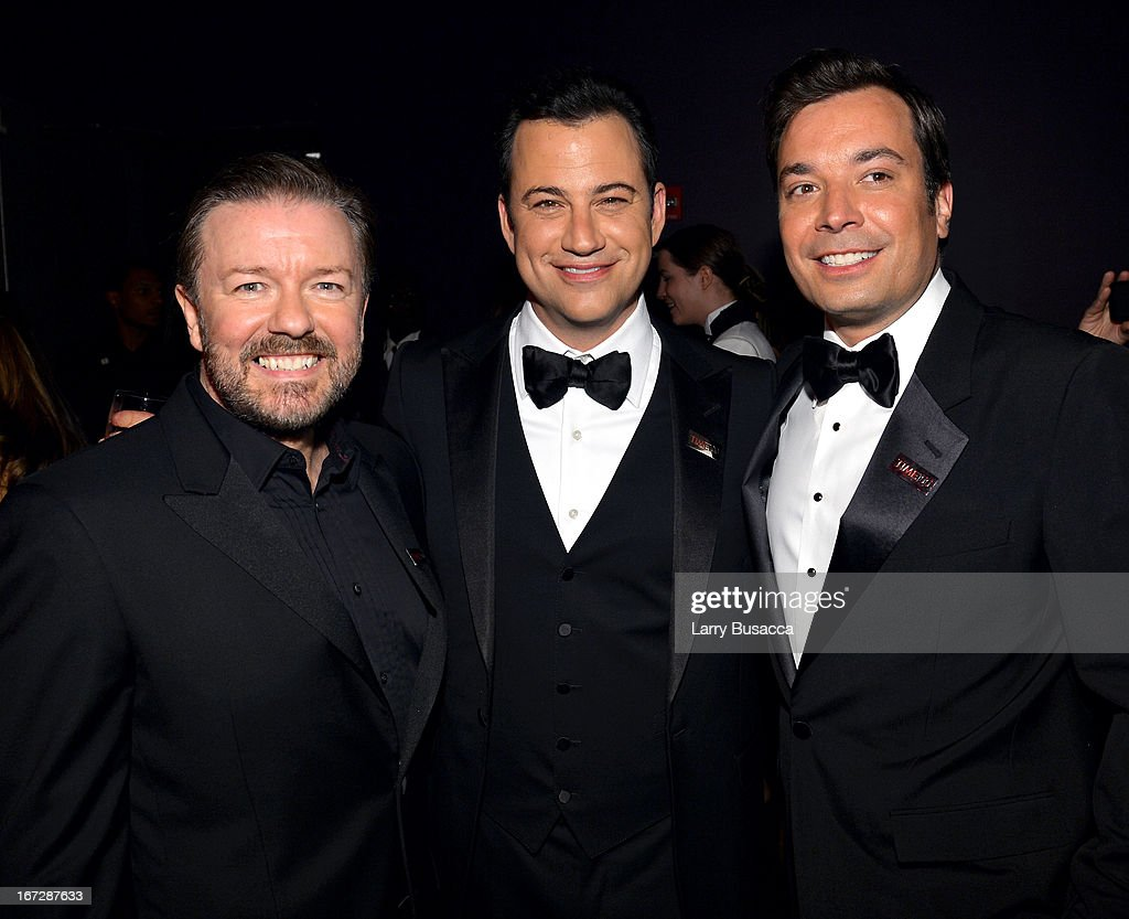 Comedians <a gi-track='captionPersonalityLinkClicked' href=/galleries/search?phrase=Ricky+Gervais&family=editorial&specificpeople=209237 ng-click='$event.stopPropagation()'>Ricky Gervais</a>, <a gi-track='captionPersonalityLinkClicked' href=/galleries/search?phrase=Jimmy+Kimmel&family=editorial&specificpeople=214115 ng-click='$event.stopPropagation()'>Jimmy Kimmel</a>, and Jimmy Fallon attend the TIME 100 Gala, TIME'S 100 Most Influential People In The World reception at Jazz at Lincoln Center on April 23, 2013 in New York City.