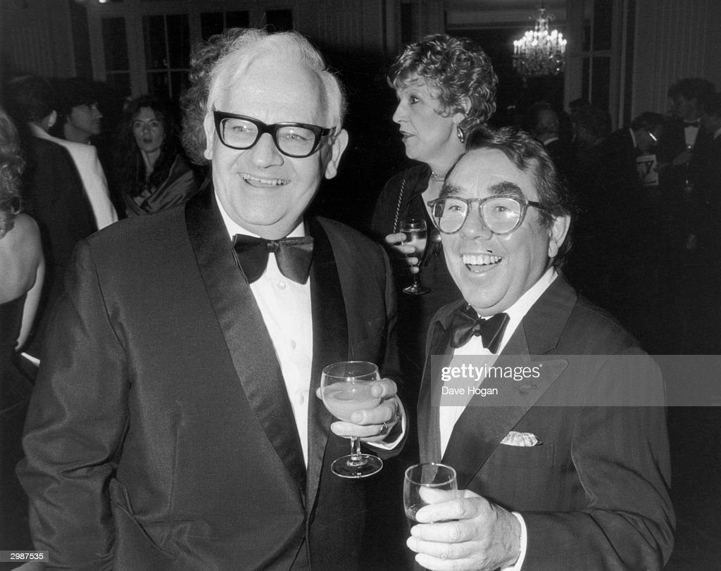 Comedians Ronnie Barker (left) and Ronnie Corbett, stars of the television comedy show 'The Two Ronnies' at the premier of the musical 'Ziegfeld' at the London Palladium, April 1988. Barker and Corbett ended their professional partnership three months previously when Barker retired from showbusiness.