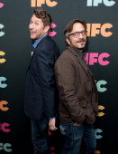 Comedians Scott Aukerman and Marc Maron attend the 2014 IFC Upfront at Roseland Ballroom on March 20 2014 in New York City