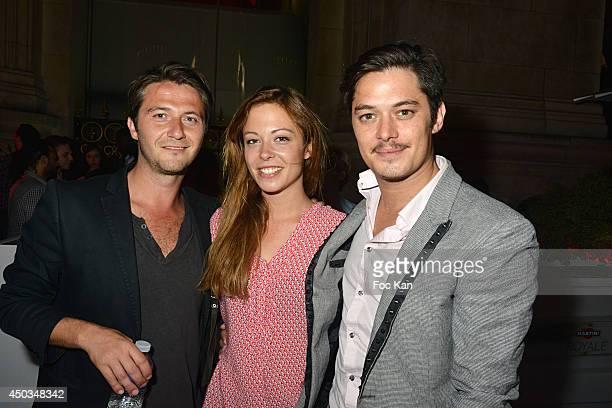 Comedians Sergio Do Vale Dounia Coesens and Aurelien Wiik attend 'La Boumette' Party at L'Opera Restaurant on June 7 2014 in Paris France
