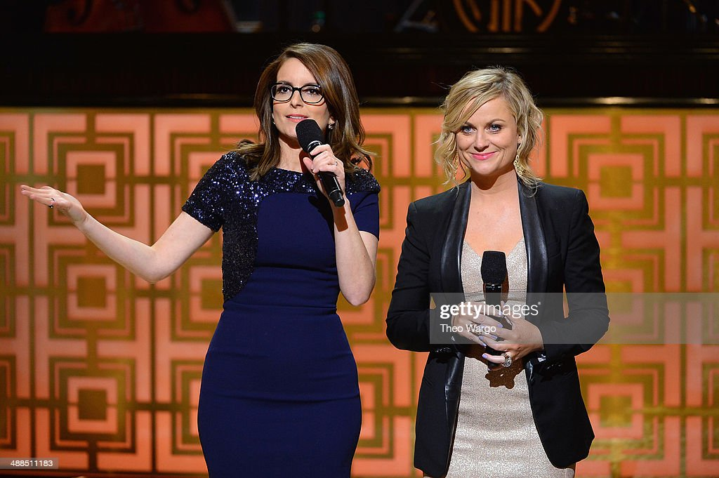 Comedians <a gi-track='captionPersonalityLinkClicked' href=/galleries/search?phrase=Tina+Fey&family=editorial&specificpeople=206753 ng-click='$event.stopPropagation()'>Tina Fey</a> and <a gi-track='captionPersonalityLinkClicked' href=/galleries/search?phrase=Amy+Poehler&family=editorial&specificpeople=228430 ng-click='$event.stopPropagation()'>Amy Poehler</a> speak onstage at Spike TV's 'Don Rickles: One Night Only' on May 6, 2014 in New York City.