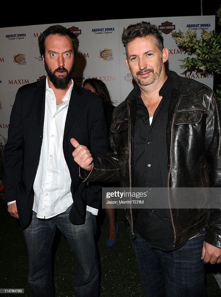 Comedians <a gi-track='captionPersonalityLinkClicked' href=/galleries/search?phrase=Tom+Green&family=editorial&specificpeople=208982 ng-click='$event.stopPropagation()'>Tom Green</a> and <a gi-track='captionPersonalityLinkClicked' href=/galleries/search?phrase=Harland+Williams&family=editorial&specificpeople=743093 ng-click='$event.stopPropagation()'>Harland Williams</a> arrive at the 11th annual Maxim Hot 100 Party with Harley-Davidson, ABSOLUT VODKA, Ed Hardy Fragrances, and ROGAINE held at Paramount Studios on May 19, 2010 in Los Angeles, California.
