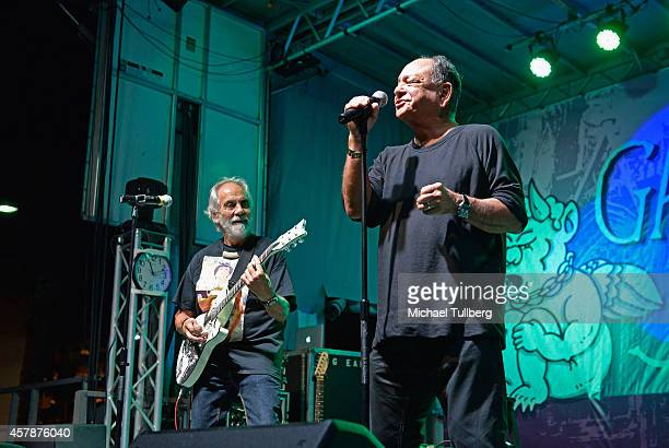 Comedians Tommy Chong and Cheech Marin of Cheech Chong perform at Festival Supreme at The Shrine Expo Hall on October 25 2014 in Los Angeles...