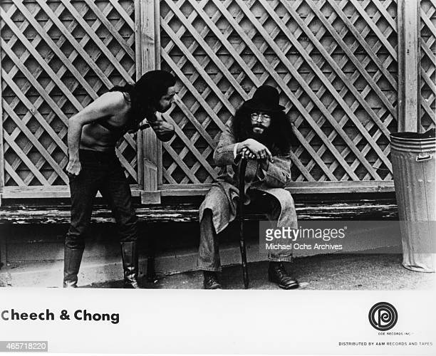 Comedians Tommy Chong and Cheech Marin pose for an Ode Records publicity portrait in circa 1975