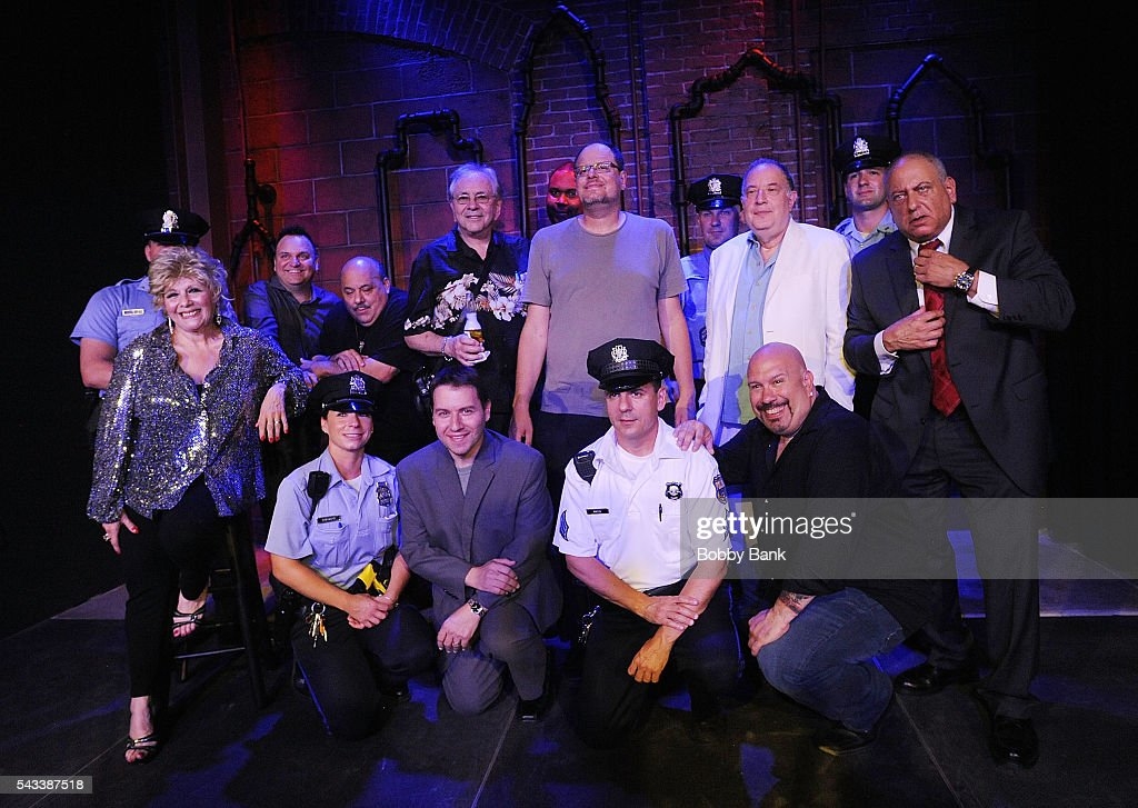 Comedians Tony Luke Jr., Chuck Darrow, Hardley Dangerous, Jason Lee, Karen Scioli, Ed Condran, Jeff Pirrami, Stu Bykofsky and Mike Jerrick attend the Stars Stand Up for Fallen Officers at Punchline Philly on June 27, 2016 in Philadelphia, Pennsylvania.