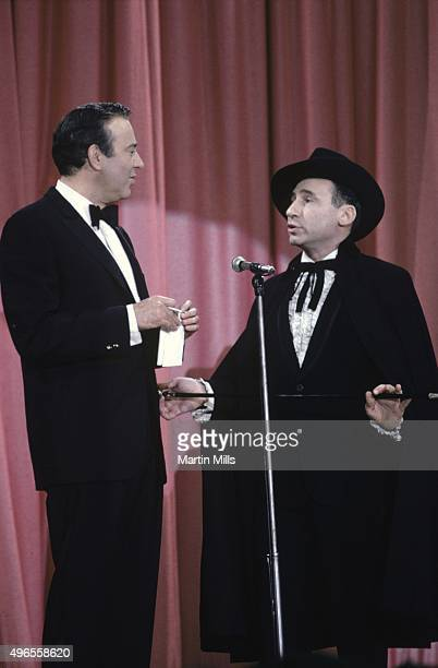 Comedians writers and directors Carl Reiner and Mel Brooks perform their routine 'The 2000 Year Old Man' on the Colgate Comedy Hour on May 11 1967 in...