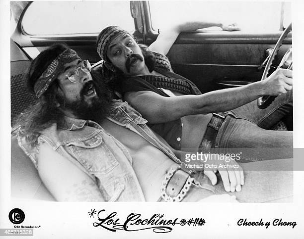 ComediansTommy Chong and Cheech Marin in a publicity portrait for the release of their album 'Los Cochinos' which was released in 1973