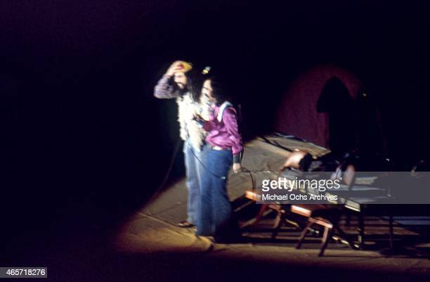 ComediansTommy Chong and Cheech Marin of the comedy duo 'Cheech And Chong' perform onstage in January 1973