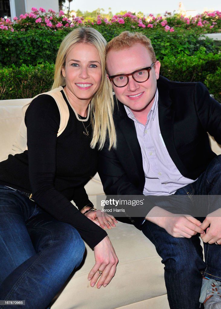 Comedians/TV personalities <a gi-track='captionPersonalityLinkClicked' href=/galleries/search?phrase=Chelsea+Handler&family=editorial&specificpeople=599162 ng-click='$event.stopPropagation()'>Chelsea Handler</a> (L) and Brad Wollack at 'Roast and Toast with Ross Mathews' hosted by Target to celebrate the launch of Mathews' book 'Man Up!' at Sunset Tower on May 1, 2013 in West Hollywood, California.