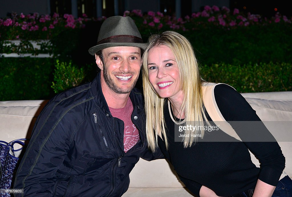 Comedians/TV personalities Josh Wolf (L) and <a gi-track='captionPersonalityLinkClicked' href=/galleries/search?phrase=Chelsea+Handler&family=editorial&specificpeople=599162 ng-click='$event.stopPropagation()'>Chelsea Handler</a> at 'Roast and Toast with Ross Mathews' hosted by Target to celebrate the launch of Mathews' book 'Man Up!' at Sunset Tower on May 1, 2013 in West Hollywood, California.