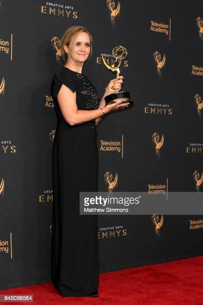 Comedian/TV Host Samantha Bee poses in the pressroom during the 2017 Creative Arts Emmy Awards at Microsoft Theater on September 9 2017 in Los...